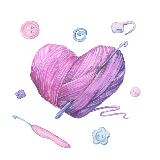Aquarell wollknäuel zum stricken in form eines herzens. vektor-illustration Premium Vektoren