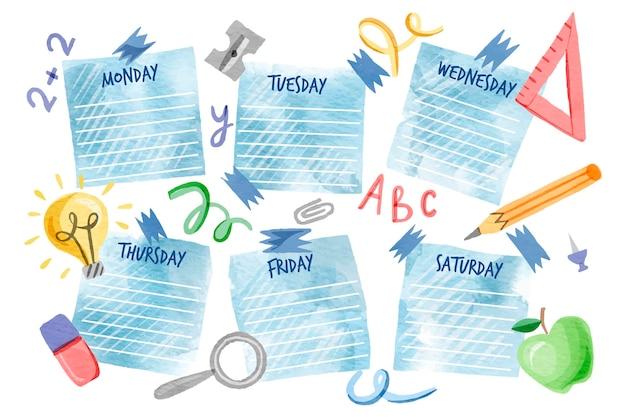 Aquarell zurück zum schulstundenplan Kostenlosen Vektoren