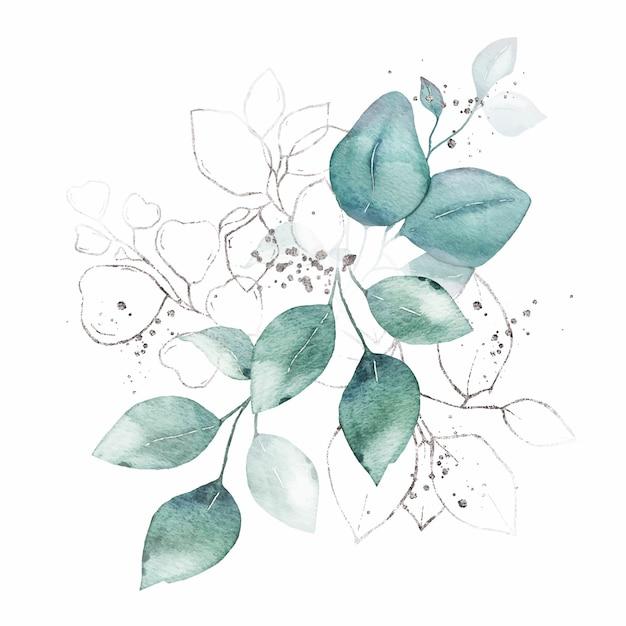 Aquarellanordnung mit dem grün lässt silbernen krautblumenstrauß lokalisiert Kostenlosen Vektoren