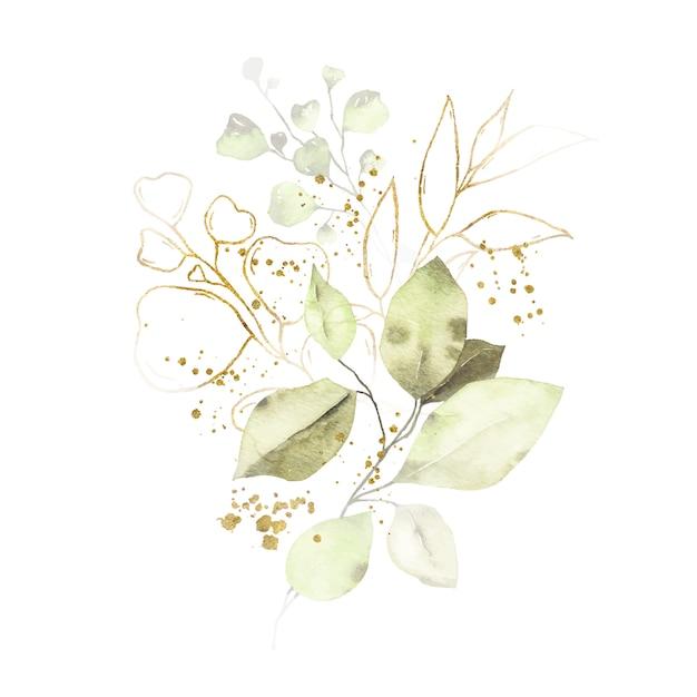 Aquarellanordnung mit grün lässt goldenen krautblumenstrauß Kostenlosen Vektoren