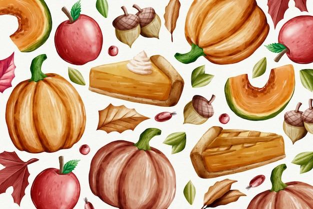 Aquarellart thanksgiving hintergrund Kostenlosen Vektoren