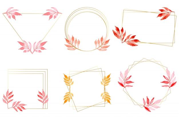 Aquarellblätter mit goldrahmensammlung Premium Vektoren