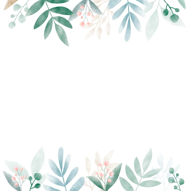 Aquarellblätter mit kopienraumdesign Kostenlosen Vektoren