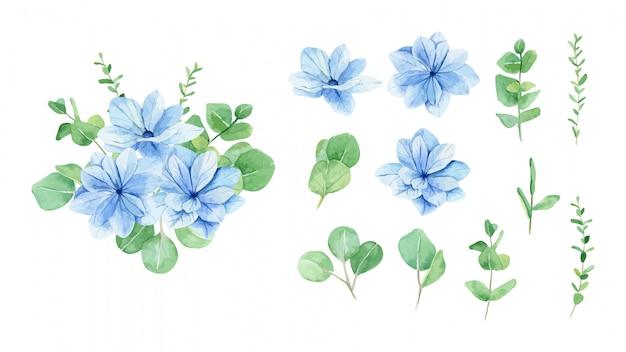 Aquarellblauer blumenstrauß und satz von elementen Premium Vektoren