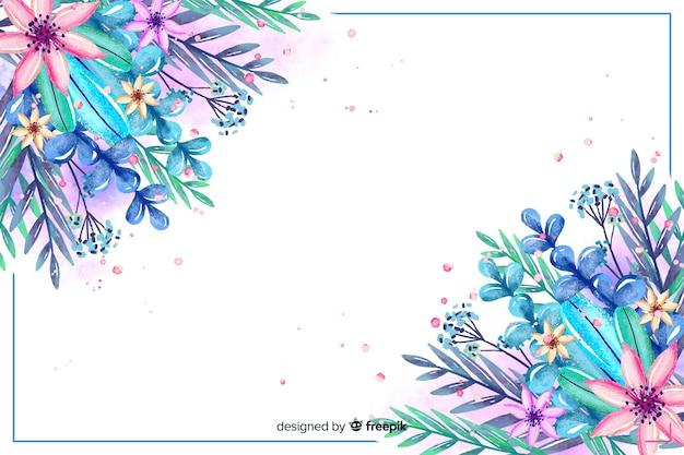 Aquarellblumen- und -blatthintergrund Kostenlosen Vektoren