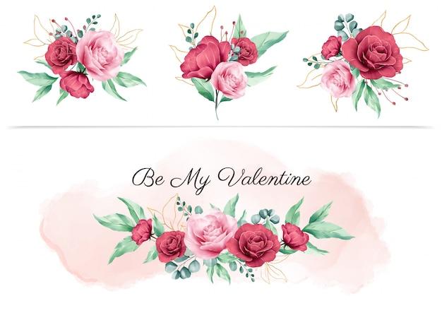 Aquarellblumenboquet für valentinsgrußgestaltungselemente und blumenvorbereitungen für hochzeitseinladungskartenzusammensetzungsvektor Premium Vektoren