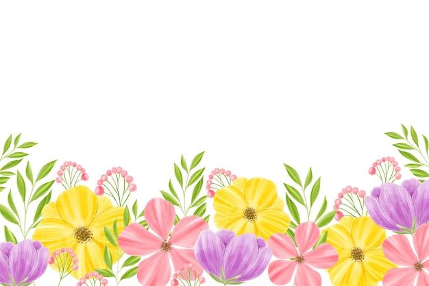 Aquarellblumenhintergrund mit leerraum Kostenlosen Vektoren