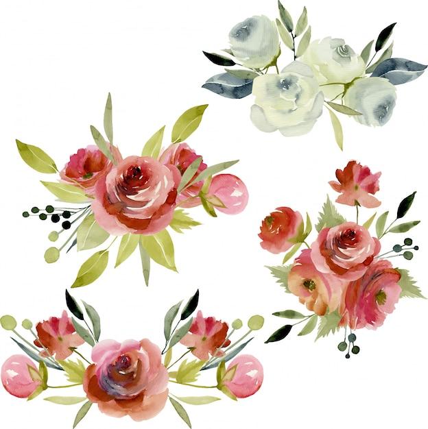 Aquarellblumensträuße burgund und weiße rosen Premium Vektoren