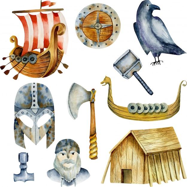 Aquarellelemente der wikinger-kultur Premium Vektoren