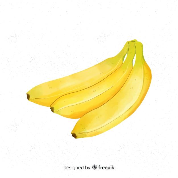 Aquarellfruchthintergrund mit bananen Kostenlosen Vektoren