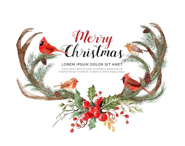 Aquarellgeweih-ren mit vögeln weihnachten. Premium Vektoren