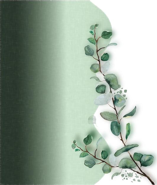 Aquarellgrüne blätterzweig mit grünem textiltexturhintergrund Premium Vektoren