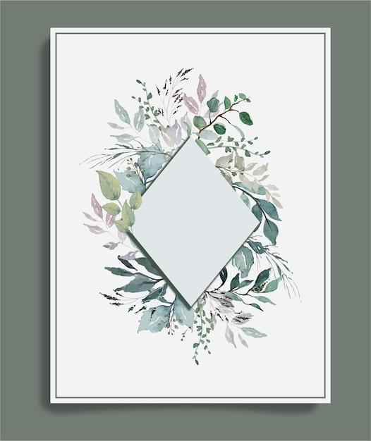 Aquarellgrüne weinleseblätter um diamantrahmenhintergrund Premium Vektoren