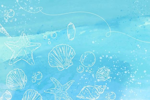 Aquarellhintergrund mit handgezeichneten elementen Kostenlosen Vektoren