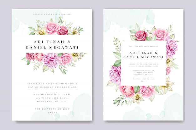 Aquarellhochzeits-einladungskarte mit schöner blumen- und blattschablone Premium Vektoren