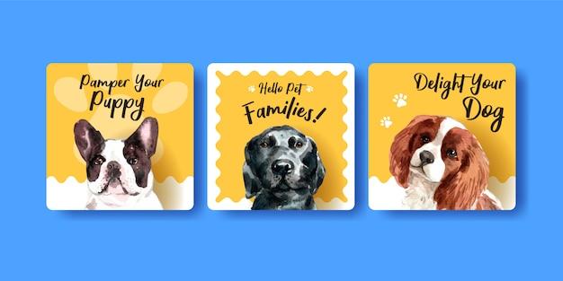 Aquarellhunde-werbekartenschablonensatz Kostenlosen Vektoren