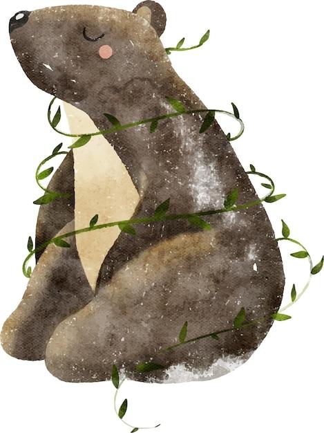 Aquarellillustration des wilden waldtierbraunbären mit blättern Premium Vektoren