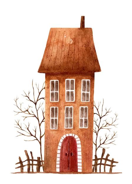 Aquarellillustration eines stilisierten braunen hauses mit bäumen ohne blätter und einem zaun Premium Vektoren