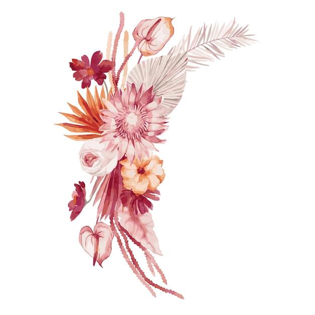 Aquarellillustration, herbststrauß, böhmische artkomposition mit burgunderfarbenen palmblättern, orchidee, protea, gelber aster und anthurium Premium Vektoren