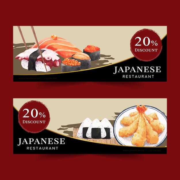 Aquarellillustration mit kreativem sushi-themenorientiertem für fahnen, anzeige und broschüre. Kostenlosen Vektoren