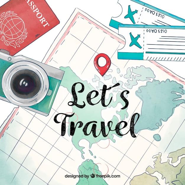 Aquarellkarte mit reiseelementen Kostenlosen Vektoren