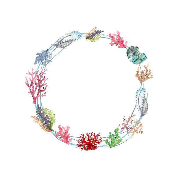 Aquarellkranz aus unterwasserpflanzen und korallen Premium Vektoren