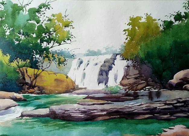 Aquarellmalerei natur und handgezeichneter wasserfall in der berglandschaftsillustration; Premium Vektoren