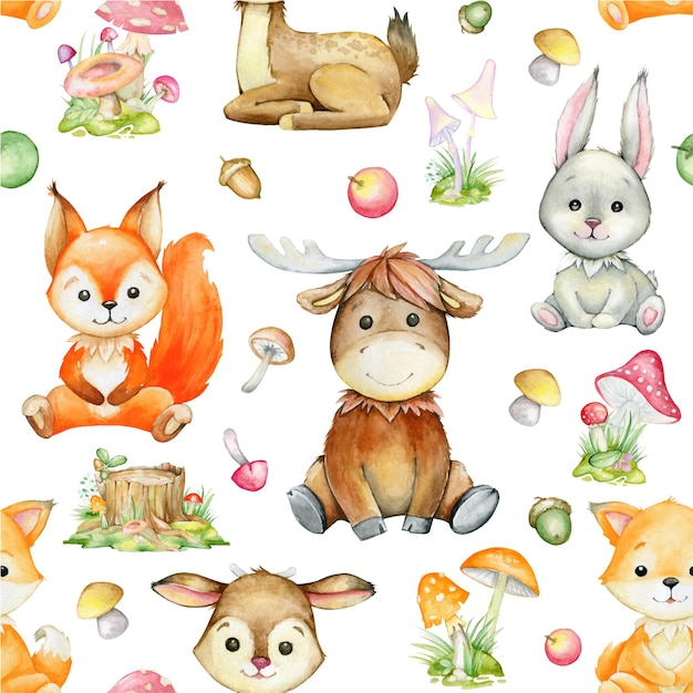 Aquarellmuster, auf einem isolierten hintergrund. eichhörnchen, hirsch, elch, kaninchen, fuchs, pflanzen. waldtiere im cartoon-stil. Premium Vektoren