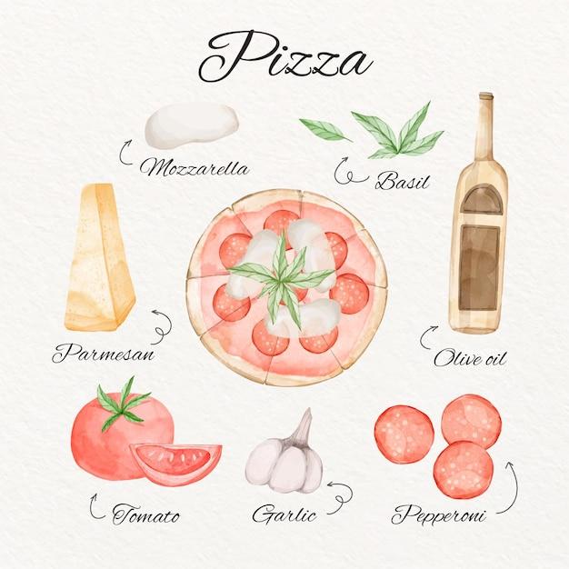 Aquarellpizza-rezeptkonzept Kostenlosen Vektoren