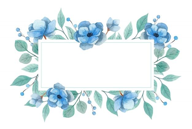 Aquarellrahmeneinladung auf einem weißen hintergrund. blaue anemonenblumen und türkisfarbene zweige. vektorillustration Premium Vektoren