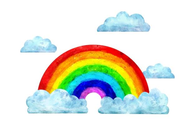 Aquarellregenbogen mit wolken Kostenlosen Vektoren