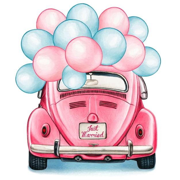 Aquarellrosa glänzendes vintages auto mit ballonfeier Premium Vektoren