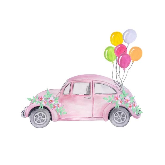 Aquarellrosa retroautos mit einem blumenstrauß von lila blumen und luftballons Premium Vektoren