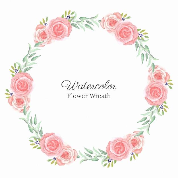 Aquarellrosa-rosenblumen-kreisrahmen Premium Vektoren