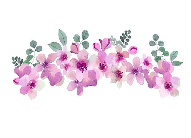 Aquarellstrauß in den rosa farben Kostenlosen Vektoren