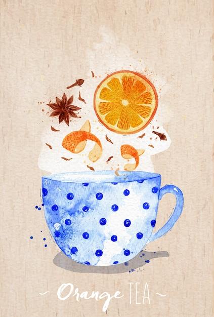 Aquarellteacup mit orange tee, nelken, anis, der auf kraftpapierhintergrund zeichnet Premium Vektoren