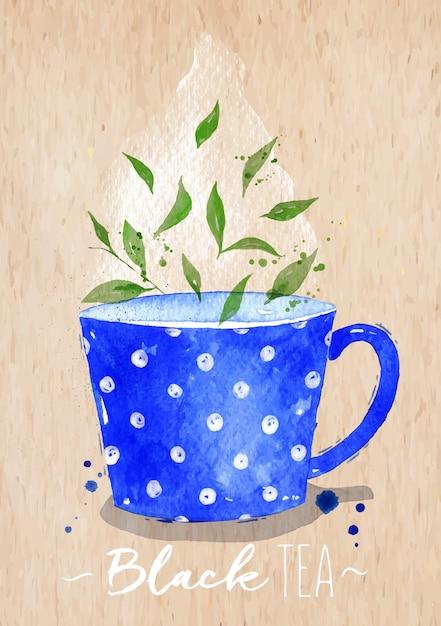 Aquarellteetasse mit dem zeichnen des schwarzen tees auf kraftpapierhintergrund Premium Vektoren
