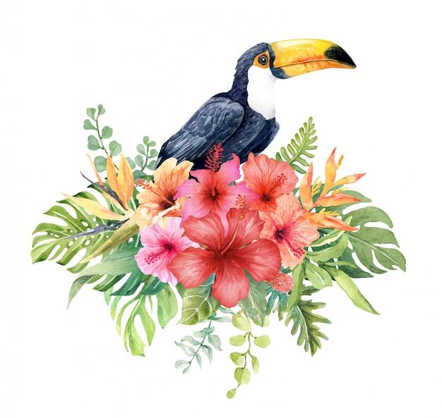 Aquarelltukan im hibiscusblumenblumenstrauß Premium Vektoren