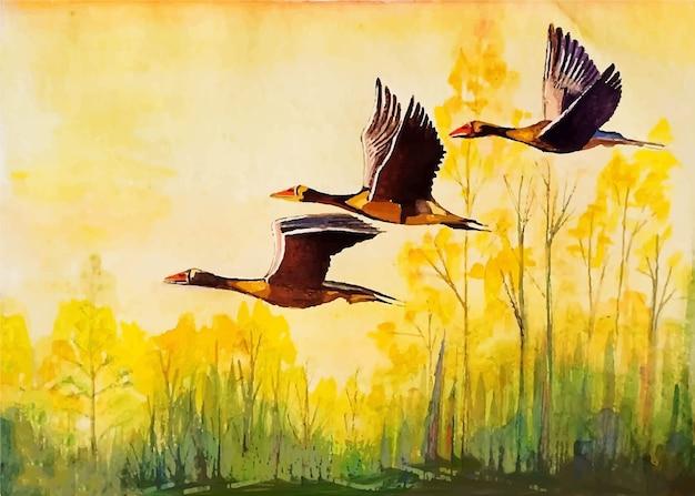 Aquarellvögel, die in der gezeichneten illustration des himmels hand fliegen Premium Vektoren