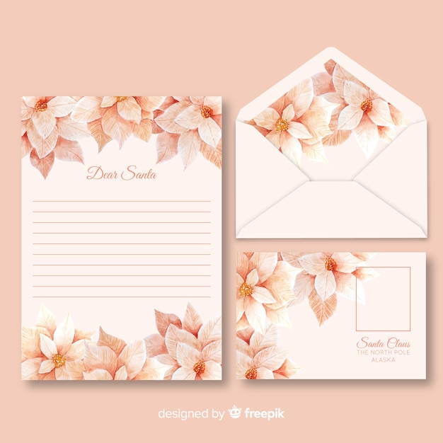 Aquarellweihnachtsbriefpapierschablone in den rosa schatten Kostenlosen Vektoren