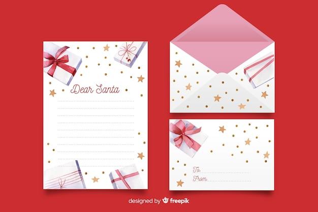 Aquarellweihnachtsbriefpapierschablone mit geschenken Kostenlosen Vektoren