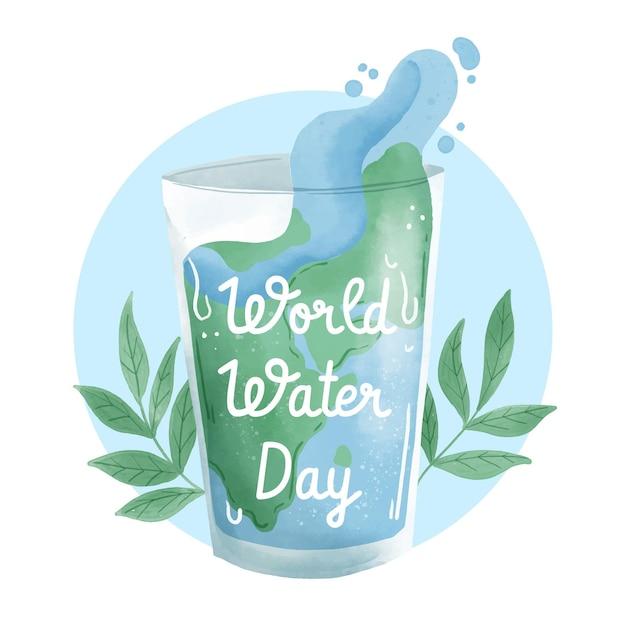 Aquarellweltwassertagmalerei Kostenlosen Vektoren