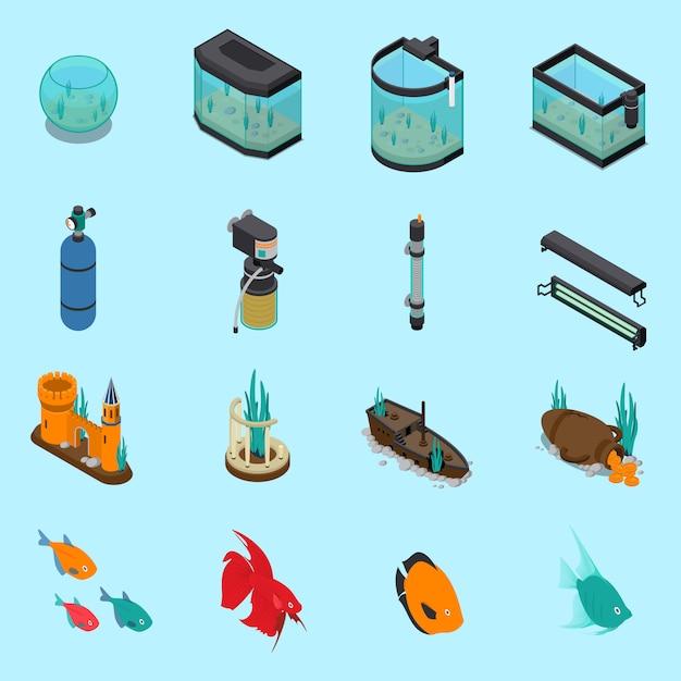 Aquarium icons set Kostenlosen Vektoren