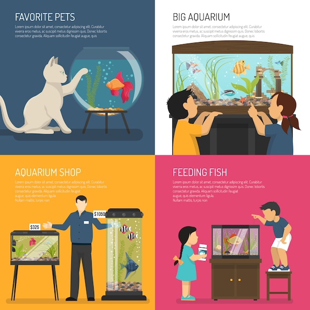 Aquarium-konzept Kostenlosen Vektoren