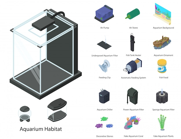 Aquarium-set im isometrischen stil Premium Vektoren