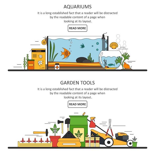 Aquarium und gartengeräte banner vorlage im flachen stil. vektor-design-elemente Premium Vektoren