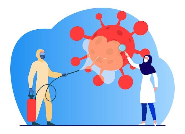 Araber in schutzkostümen desinfizieren den bereich vor viren. coronavirus, maske, lupe flache vektorillustration. pandemie und prävention Kostenlosen Vektoren