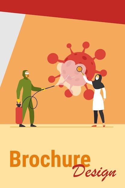 Araber in schutzkostümen desinfizieren den bereich vor viren. coronavirus, maske, lupe flache vektorillustration. pandemie- und präventionskonzept für banner, website-design oder landing-webseite Kostenlosen Vektoren