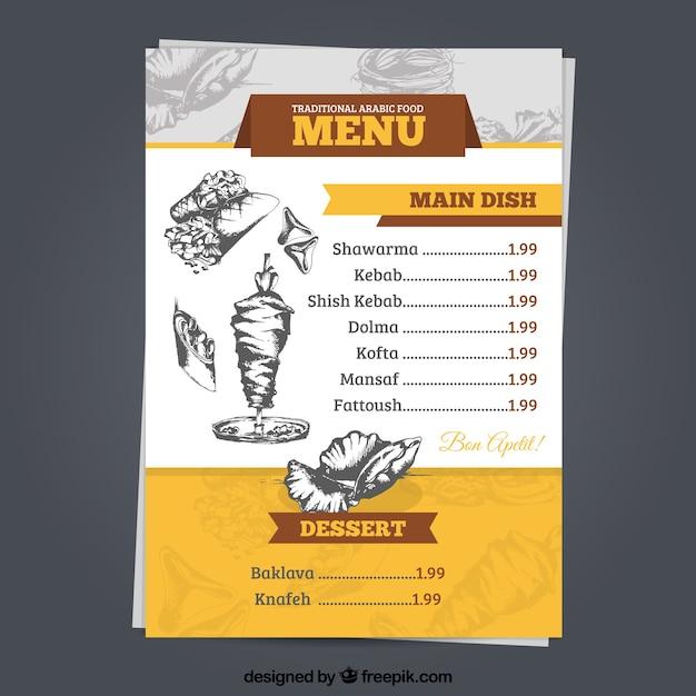 Arabisch-menü-vorlage mit zeichnungen Kostenlosen Vektoren