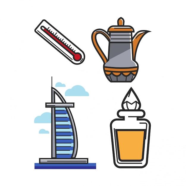 Arabische emirate uae reisesymbole und sehenswürdigkeiten oder tourismusattraktionen vektorelementsatz Premium Vektoren